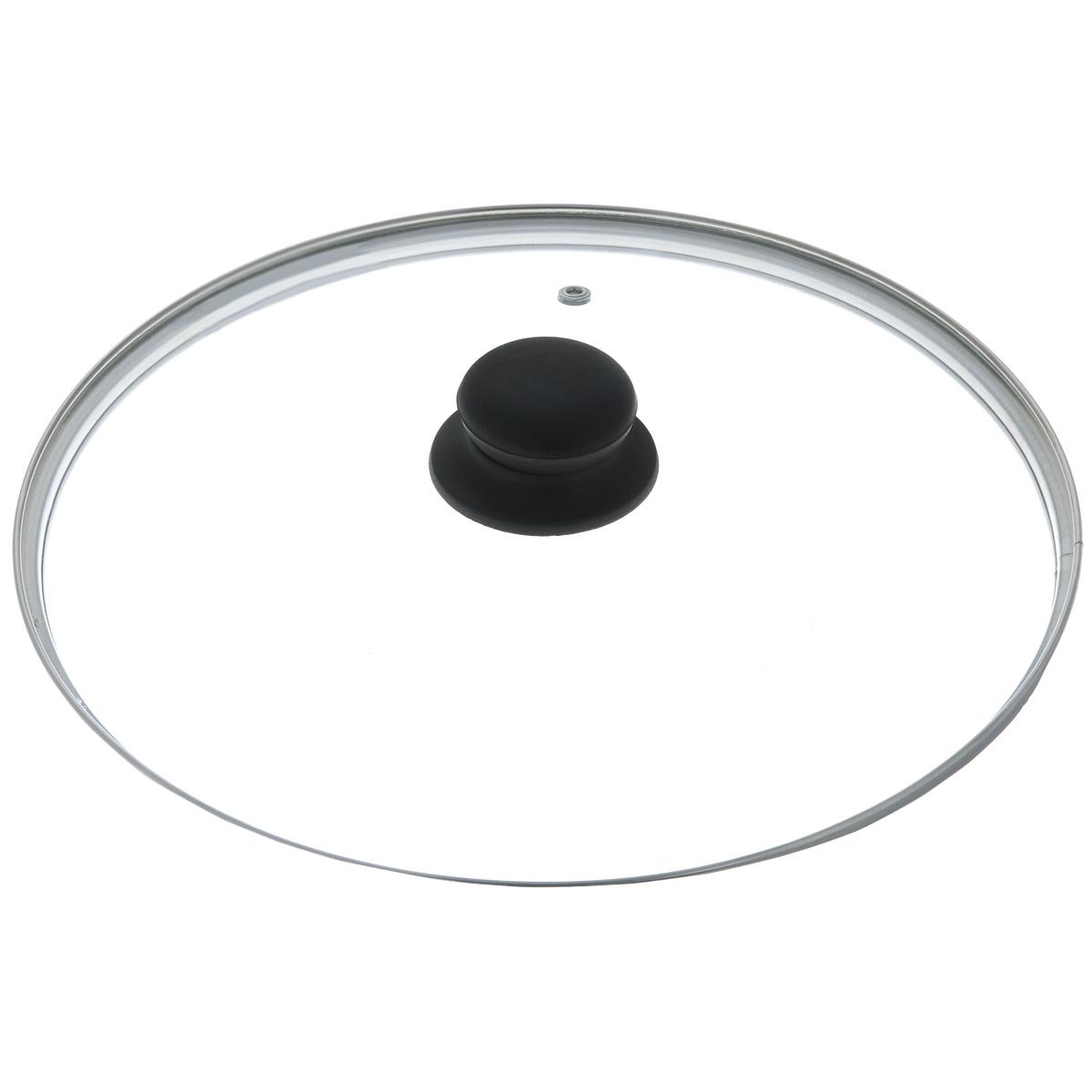 Крышка стеклянная, диаметр 28 см4628нКрышка изготовлена из термостойкого стекла. Обод, выполненный из высококачественной нержавеющей стали, защищает крышку от повреждений, а ручка, выполненная из термостойкого пластика, защищает ваши руки от высоких температур. Изделие оснащено пароотводом. Крышка удобна в использовании и позволяет контролировать процесс приготовления пищи без потери тепла. Можно мыть в посудомоечной машине.