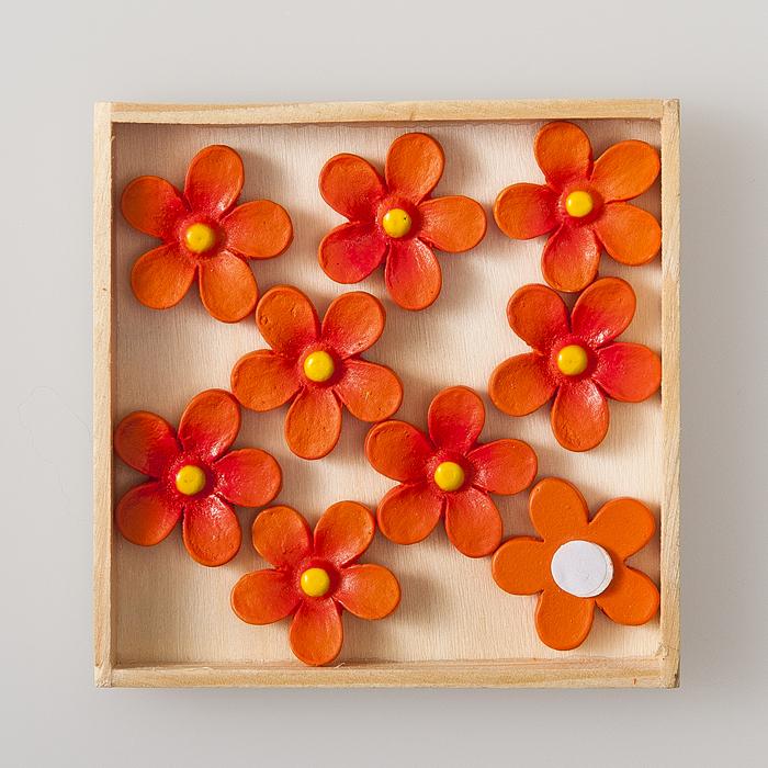 Набор декоративных украшений Home Queen Цветочек, на стикере, цвет: оранжевый, 9 шт60496Набор Home Queen Цветочек состоит из 9 декоративных элементов, которые изготовлены из полирезины в виде цветов. Они крепятся к поверхности благодаря бумаге на клейкой основе с обратной стороны и прекрасно подойдут для декора любой поверхности. Изделия можно использовать для украшения фотоальбомов, подарков, конвертов, фоторамок, открыток, интерьера и т.д. Творчество способно приносить массу приятных эмоций не только человеку, который этим занимается, но и его близким, друзьям, родным.