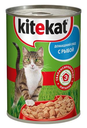 Консервы Kitekat Домашний обед для взрослых кошек, с рыбой, 410 г10182Консервы для взрослых кошек Kitekat - полнорационный сбалансированный корм для кошек, который идеально подойдет вашему любимцу. Аппетитные мясные кусочки в нежном соусе содержат все питательные вещества, витамины и минералы, необходимые для сбалансированного питания вашей кошки каждый день. В рацион домашнего любимца нужно обязательно включать консервированный корм, ведь его главные достоинства - высокая калорийность и питательная ценность. Консервы лучше усваиваются, чем сухие корма. Также важно, что животные, имеющие в рационе консервированный корм, получают больше влаги. Корм не содержит сои, консервантов, ароматизаторов, искусственных красителей, усилителей вкуса. Состав: мясо и субпродукты (в том числе рыба минимум 4%), злаки, растительное масло, таурин, витамины, минеральные вещества. Анализ: белки - 6,5 г, жиры - 3,5 г, клетчатка - 0,3 г, зола - 2,5 г, витамин А - не менее 70 МЕ мг, витамин Е - не менее 0,9 мг, влага - 84 г. Вес 410 г. Товар...
