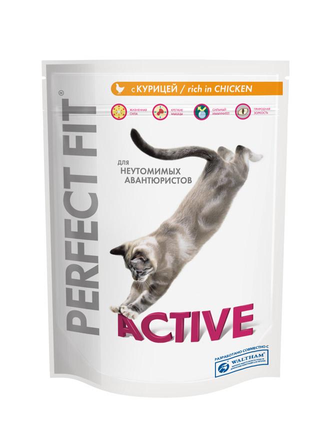 Корм сухой Perfect Fit Active для активных кошек, с курицей, 190 г. 1018610186Сухой корм Perfect Fit Active - полнорационный сухой корм для взрослых кошек. Корм специально создан для поддержания жизненного тонуса и хорошего настроения неутомимых авантюристов. Жизненная сила. Корм содержит витамины группы В и все необходимые минералы, способствующие поддержанию правильного обмена веществ. Крепкие мышцы. Комбинация белков, минералов и витаминов для поддержания крепких мышц. Природная зоркость. Содержит витамин А и таурин, необходимые для поддержания здоровья глаз и природной зоркости. Сильный иммунитет. Содержит витамины С, Е и таурин, помогающие поддержанию иммунной системы. Состав: высушенный белок птицы (включая 18% курицы), пшеница, животный жир, высушенный животный белок, продукты переработки пшеницы, кукурузная мука, высушенный белок злаков, высушенная печень, мясокостная мука, кукуруза, сухая свекла, соль, хлорид калия, витамины и минеральные вещества. Пищевая ценность (100 г): белок 36 г, жир 16 г, зола 8 г,...