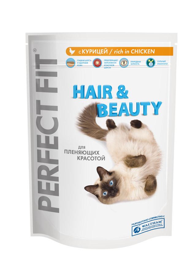 Корм сухой Perfect Fit Hair & Beauty для длинношерстных кошек, с курицей, 190 г36487Сухой корм Perfect Fit Hair & Beauty - полнорационный сухой корм для взрослых кошек. Корм специально создан для поддержания красоты и здоровья домашних кошек с пушистой шерстью. Гладкая шерсть и здоровая кожа. Корм способствует поддержанию здоровой кожи и блестящей шерсти благодаря содержанию биотина, цинка и омега-6 кислот. Предотвращает образование комочков шерсти. Корм содержит натуральную клетчатку, помогающую контролировать образование комочков шерсти в организме кошки. Природная зоркость. Содержит витамин А и таурин, необходимые для поддержания здоровья глаз и природной зоркости. Сильный иммунитет. Содержит витамины С, Е и таурин, помогающие поддержанию иммунной системы. Состав: высушенный белок птицы (включая 23% курицы), пшеница, высушенный животный белок, куриный жир, продукты переработки пшеницы, высушенный белок злаков, рис (не менее 4%), высушенная печень, целлюлоза, сухая свекла, мясокостная мука, соль, экстракт цикория (не...