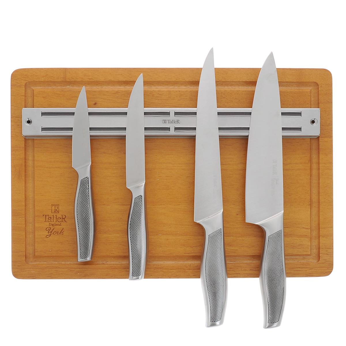 Набор ножей Taller Йорк, 6 предметовTR-2002Набор Taller Йорк состоит из 4 ножей (нож поварской, нож для нарезки, нож универсальный и нож для чистки), магнитной планки и разделочной доски. Ножи выполнены из коррозионной стали 420S45. Данная сталь устойчива к коррозии, отличается прочностью и отсутствием вредных соединений при контакте с продуктами. Режущая кромка лезвий устойчива к притуплению. Ножи отлично сбалансированы и удобно ложатся в руку. В наборе 4 ножа: - Поварской нож. Имеет тяжелую ручку, толстое, широкое и длинное лезвие с центрированным острием. Все это позволяет рубить овощи, зелень, резать мороженое мясо, рыбу и птицу. - Нож для нарезки. Нож с длинным, нешироким, но достаточно толстым лезвием. Используется для нарезки сырого и вареного мяса, разделки курицы, рыбы. Им легко нарезать арбуз, дыню. - Нож универсальный. Многофункциональный нож, подходит для нарезки овощей, фруктов, колбасы, сыра, масла. Применяется для приготовления бутербродов и канапе. - Нож для чистки....