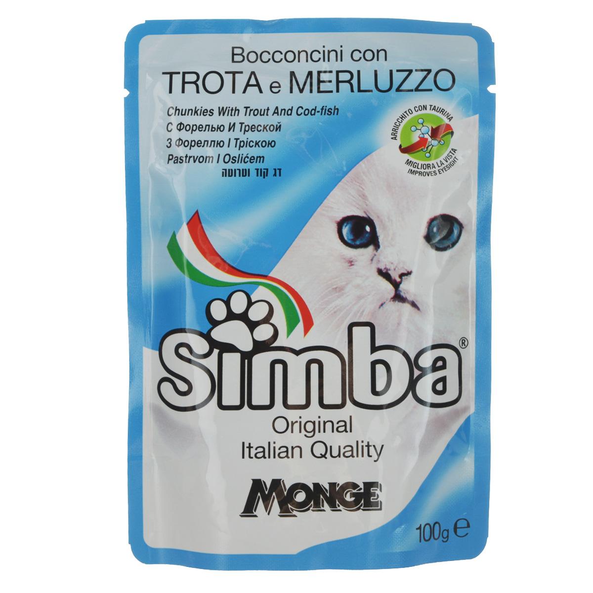 Консервы Monge Simba для взрослых кошек, с форелью и треской, 100 г70009362Консервы Monge Simba для взрослых кошек тщательно приготовлены из итальянского мяса и рыбы. Без добавления консервантов и антиоксидантов. Экологически чистое производство гарантирует высочайшее качество и длительные сроки хранения консервов. Тщательный отбор сырья и содержащийся в нем полный набор витаминов и микроэлементов обеспечивает отличную усвояемость и отсутствие проблем с пищеварением у ваших любимых питомцев. Состав: рыба и рыбные субпродукты 13%, (форель мин. 4,2%, треска мин. 4,2%), минеральные вещества, витамины. Пищевая ценность: протеин 8,0%, жир 5,0%, зола 2,2%, клетчатка 1,0%, влажность 82%. Витамины: витамин А 2000 МЕ/кг, витамин D3 200 МЕ/кг, витамин Е (альфа- токоферол 91%) 5 мг/кг. Товар сертифицирован.