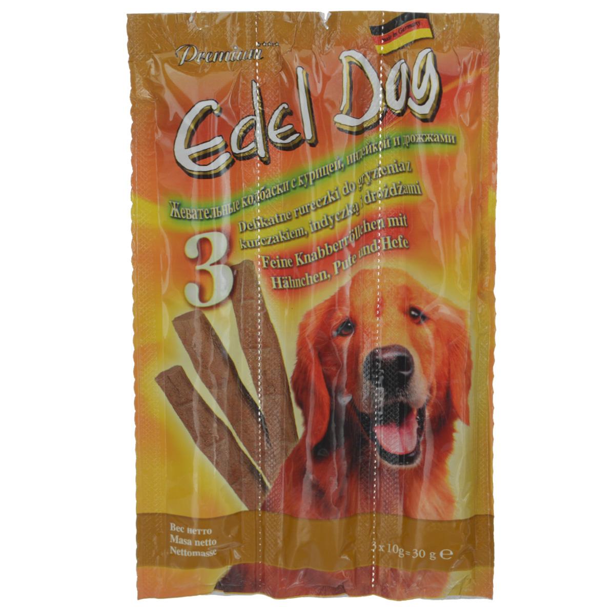 Колбаски жевательные Edel Dog для собак, с курицей, индейкой и дрожжами, 3 шт14458Жевательные колбаски Edel Dog - это лакомство для собак. Используются в качестве лакомства и в дополнение к основному корму. На 95% состоят из свежего мяса с добавлением витаминно-минерального комплекса. Состав: мясо и мясопродукты (90%, в том числе 6% курицы, 6% индейки), дрожжи (4%), минеральные вещества. Технологические добавки: антиоксиданты, консерванты. Аналитический состав: сырой протеин 35%, влажность 27%, сырой жир 21%, сырая зола 9%, сырая клетчатка 0,5%. Товар сертифицирован.