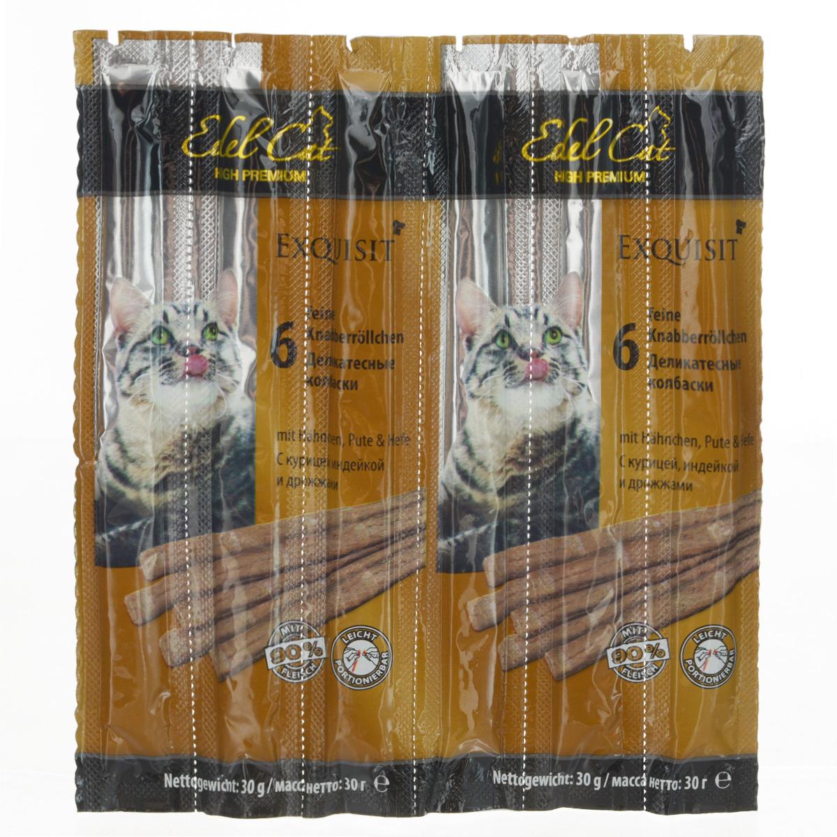 Колбаски жевательные для кошек Edel Cat, с курицей, индейкой и дрожжами, 30 г, 6 шт12822Жевательные колбаски Edel Cat используются в качестве лакомства и как дополнение к основному корму кошки старше 8 месяцев. На 95% состоят из свежего мяса с добавлением витаминно-минерального комплекса. Специальные рисочки на колбаске облегчат ее ломание. Противопоказано котятам, моложе восьми месяцев, кошкам с лишним весом, с сахарным диабетом, с заболеваниями почек или печени. Состав: мясо и мясопродукты (90%, в т.ч. 6% курицы, 6% индейки), дрожжи (4%), минеральные вещества. Технологические добавки: антиоксиданты, консерванты. Аналитический состав: сырой протеин 33,5%, влажность 28%, сырой жир 20%, сырая зола 10%, сырая клетчатка 2%. Вес: 30 г. Товар сертифицирован.
