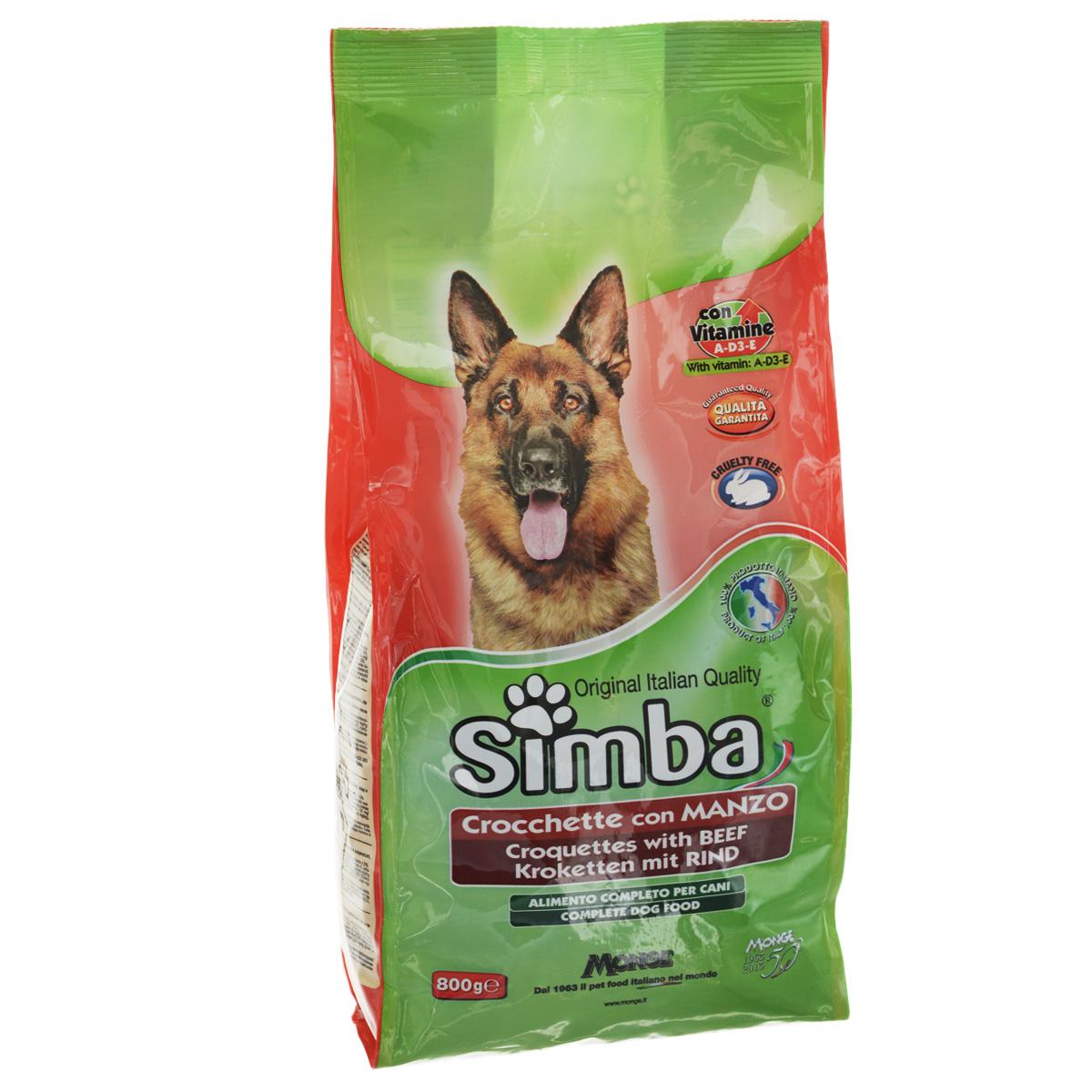 Корм сухой Monge Simba для взрослых собак, с говядиной, 800 г70009829Сухой корм Monge Simba - это полноценный корм для собак с витаминами A, D3, E, которые способствуют укреплению здоровья и отличного состояния животных. Оптимальное содержание белка гарантируется наличием говяжьего мяса. Состав: злаки, мясо и мясопродукты (говядина мин. 4,1%), побочные продукты растительного происхождения, масла и жиры, витамины, минеральные вещества. Анализ компонентов: белок 21%, масла и жиры 8%, сырая клетчатка 4,5%, сырая зола 9,5%. Витамины и добавки на 1 кг: витамин А 10000 МЕ, витамин D3 700 МЕ, витамин Е 50 мг, сульфат марганца 80 мг (марганец 25 мг), оксид цинка 170 мг (цинк 120 мг), сульфат меди 40 мг (медь 10 мг), сульфат железа 290 мг (железо 87 мг), селенит натрия 0,39 мг (селен 0,17 мг), йодат кальция 2,20 мг (йод 1,40 мг), антиоксиданты ЕЭС. Товар сертифицирован.