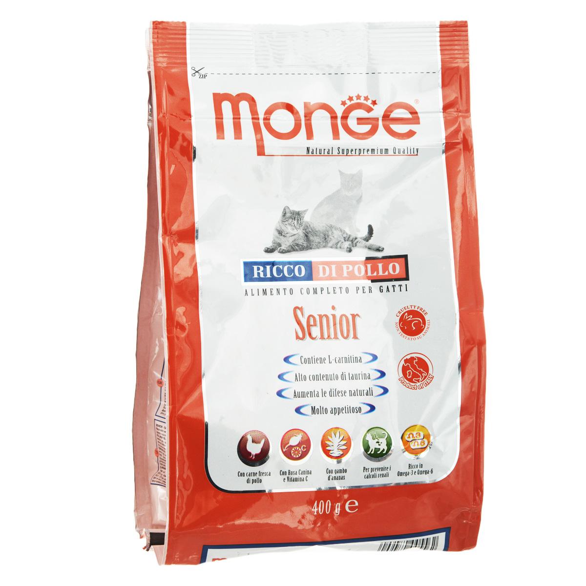 Корм сухой Monge для пожилых кошек, 400 г70005562Сухой корм Monge - это полноценный корм для пожилых кошек старше 10 лет, которым необходима диета с пониженной калорийностью и липидной плотностью, так как они ведут пониженную физическую активность. Содержит хондроитин и глюкозамин, которые способствуют сохранению подвижности и улучшению функционирования суставов. Необходимое количество магния и правильное значение pH препятствуют образованию камней в почках. Помогает в поддержании высокой остроты зрения, и способствует нормальному функционированию сердца. В дополнение витамин С укрепляет иммунную систему, а стебель ананаса способствует подавлению воспалительных процессов. Состав: куриное мясо (свежее мин. 10%, обезвоженное 30%), кукуруза, кукурузный глютен, монокальцийфосфат, рис, куриное масло, свекольный жом, масло лосося, дрожжи, яичный крахмал, целлюлоза (волокна гороха), шелуха сои, Юкка Шидигера, фруктоолигосахариды 336 мг/кг, маннан-олигосахариды 336 мг/кг, хондроитин сульфат 1,135...