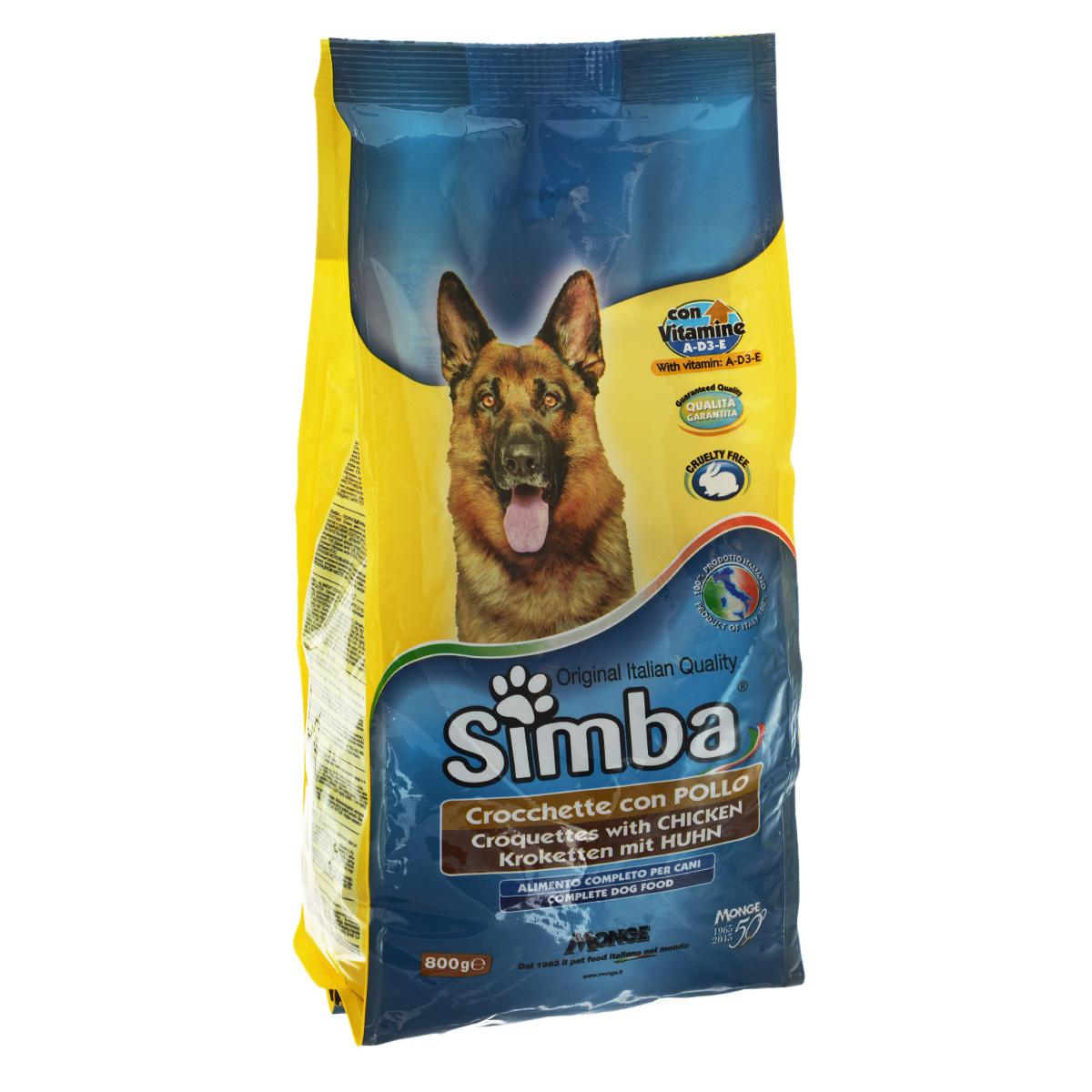 Корм сухой Monge Simba для взрослых собак, с курицей, 800 г70009836Сухой корм Monge Simba - это полноценный корм для собак с витаминами A, D3, E, которые способствуют укреплению здоровья и отличного состояния животных. Оптимальное содержание белка гарантируется наличием куриного мяса. Состав: злаки, мясо и мясопродукты (курица мин. 4,1%), побочные продукты растительного происхождения, масла и жиры, витамины, минеральные вещества. Анализ компонентов: белок 21%, масла и жиры 8%, сырая клетчатка 4,5%, сырая зола 9,5%. Витамины и добавки на 1 кг: витамин А 10000 МЕ, витамин D3 700 МЕ, витамин Е 50 мг, сульфат марганца 80 мг (марганец 25 мг), оксид цинка 170 мг (цинк 120 мг), сульфат меди 40 мг (медь 10 мг), сульфат железа 290 мг (железо 87 мг), селенит натрия 0,39 мг (селен 0,17 мг), йодат кальция 2,20 мг (йод 1,40 мг), антиоксиданты ЕЭС. Товар сертифицирован.
