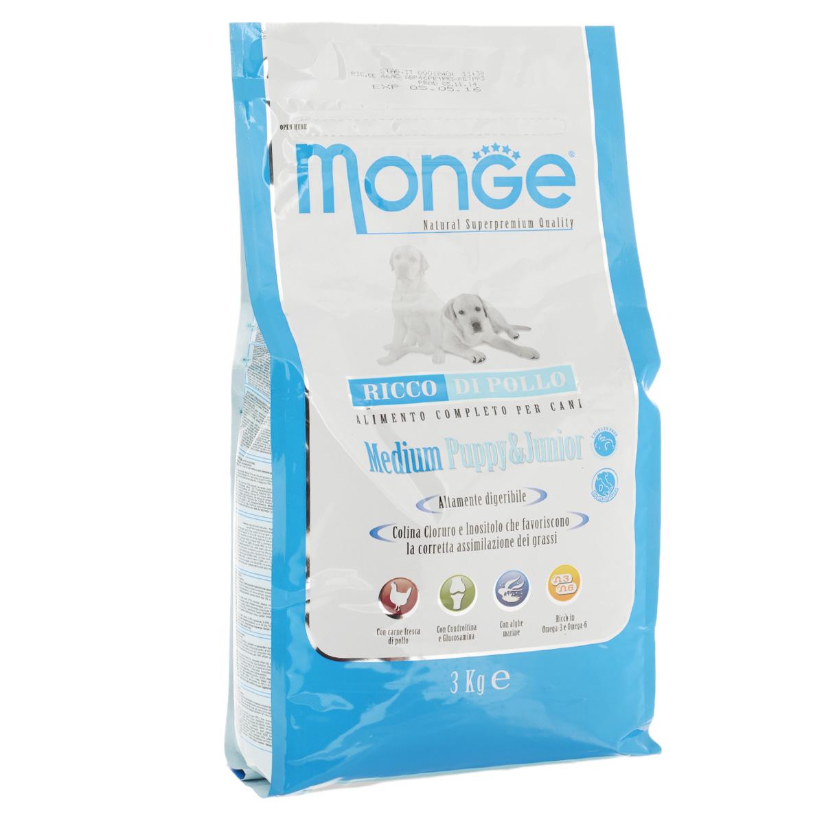 Корм сухой Monge для щенков средних пород, 3 кг70004220Сухой корм Monge - это полноценный рацион для щенков средних пород. Щенки средних пород возрастом до 12 месяцев, а так же беременные и кормящие собаки, могут получать из данного корма всю энергетическую потребность, необходимую для нормального развития. Все ингредиенты, используемые для производства данного корма, обеспечивают максимальную поддержку правильного развития вашего щенка. Корм содержит глюкозамин и хондроитин, для обеспечения здоровых костей и суставов, чтобы ваш щенок рос сильным и здоровым. Корм имеет оптимальное соотношение жирных кислот Омега-3 и Омега-6. Состав: куриное мясо (свежее мин. 10%, обезвоженное 32%), рис (мин. 27%), кукуруза, куриное масло, свекольный жом, овес, дрожжи, яичный крахмал, мука сельди, рыбий жир, экстракт Юкки Шидигера, цистин, морские водоросли, фруктоолигосахариды 528 мг/кг, маннан-олигосахариды 528 мг/кг, хондроитин сульфат 55 мг/кг, метилсульфонилметан 80 мг/кг, глюкозамин 80 мг/кг. Анализ:...