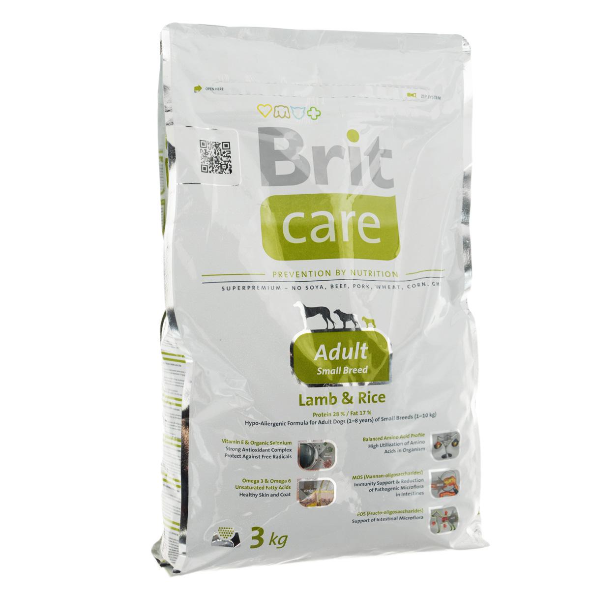 Корм сухой Brit Care Adult Small Breed для собак мелких пород, с ягненком и рисом, 3 кг100202Сухой корм Brit Care Adult Small Breed - это полноценный рацион для собак мелких пород. Оптимальное соотношение Омега-3 и Омега-6 жирных кислот с органическим цинком и медью обеспечивает здоровое состояние кожи и улучшает качество шерсти. Состав: баранина, цыпленок, рис, куриный жир (консервированный при помощи токоферолов), жир лосося, натуральные ароматы, хлопья риса, сушеная мякоть репы, пивные дрожжи, сушеные яичные продукты, экстракт из юкки шидигеры, сушеные яблоки, минералы,глюкозоамин гидрохлорид, сульфат хондроитина, ДЛ-метионин, Л-лизин, олигосахарид маннана, фрукто-олигосахариды, сульфат пентогидрат меди, ниацин, кальций пантотенат, фолиевая кислота, хлорид холина, биотин, витамин А, витамин Д3, витамин Е. Аналитические составляющие: белки 28 %, жиры 17 %, влажность 10 %, сырая зола 7 %, клетчатка 2,5 %, кальций 1,6 %, фосфор 1,2 %. Добавки на кг: витамин А: 20000; витамин D3: 1500; витамин Е: 500 мг/кг; железо: 80; йод: 0,65; медь: 20....