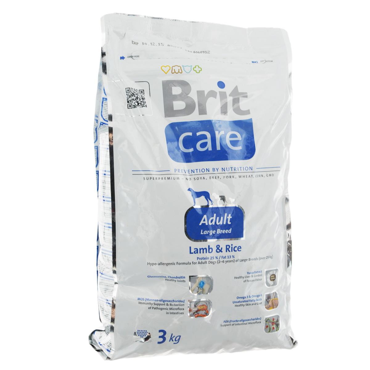 Корм сухой Brit Care Adult Large Breed для собак крупных пород, с ягненком и рисом, 3 кг100402Сухой корм Brit Care Adult Large Breed - это полноценный рацион для собак крупных пород. Оптимальное соотношение Омега-3 и Омега-6 жирных кислот с органическим цинком и медью обеспечивает здоровое состояние кожи и улучшает качество шерсти. Состав: баранина, рис, куриный жир (консервированный при помощи токоферолов), жир лосося, натуральные ароматы, хлопья риса, сушеная мякоть репы, пивные дрожжи, сушеные яичные продукты, экстракт из юкки шидигеры, сушеные яблоки, минералы, глюкозоамин гидрохлорид, сульфат хондроитина, ДЛ-метионин, Л-лизин, олигосахарид маннана, фрукто-олигосахариды, сульфат пентогидрат меди, ниацин, кальций пантотенат, фолиевая кислота, хлорид холина, биотин, витамин А, витамин Д3, витамин Е. Аналитические составляющие: белки 25 %, жиры 13 %, влажность 10 %, сырая зола 6,5 %, клетчатка 2,5 %, кальций 1,5 %, фосфор 1 %. Добавки на кг: витамин А: 20000; витамин D3: 1500; витамин Е: 500 мг/кг; железо: 80; йод: 0,65; медь: 20. ...