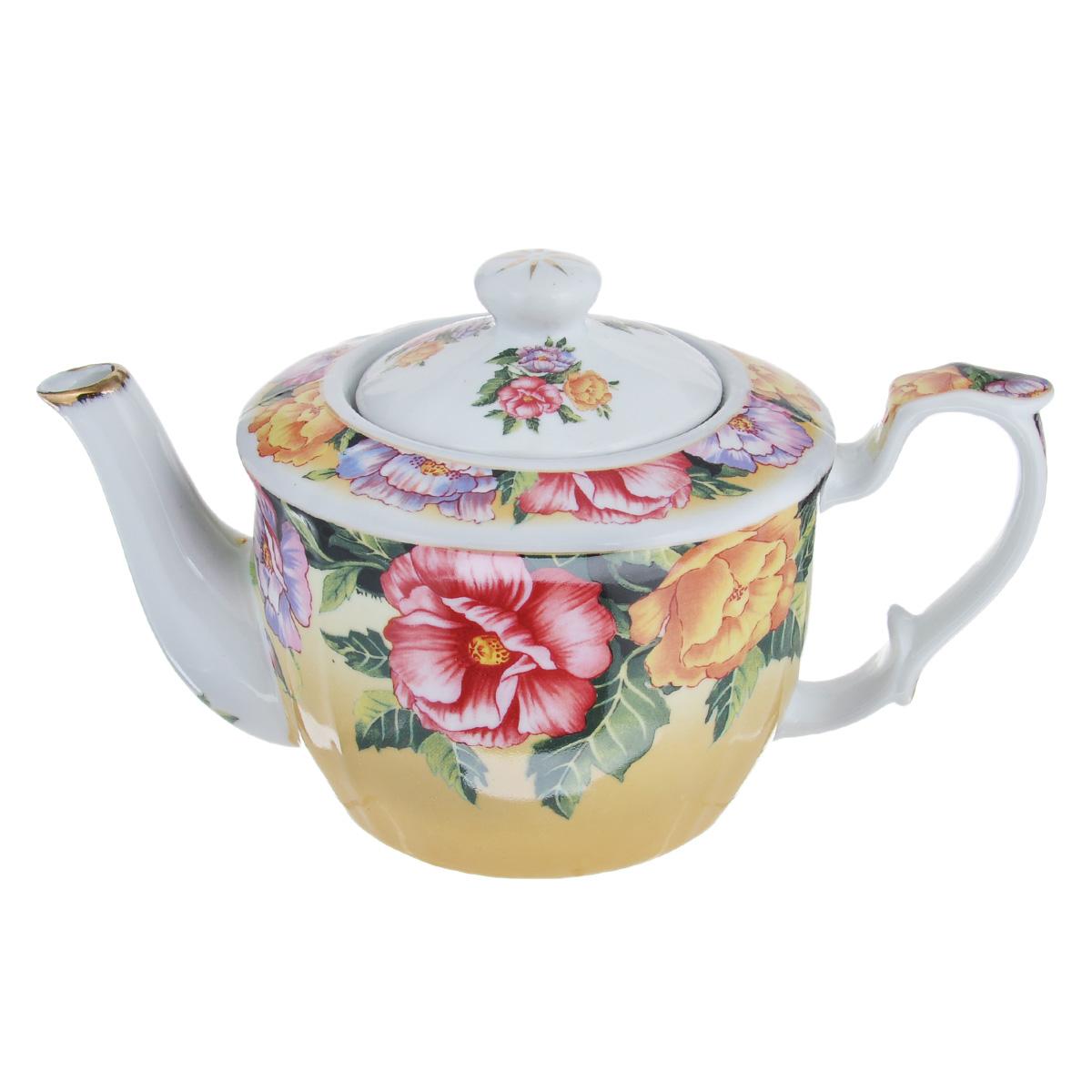 Чайник заварочный Lillo, 850 мл. С-1С-1Чайник заварочный Lillo изготовлен из высококачественной керамики. Изделие декорировано ярким цветочным принтом. Носик чайника сверху покрыт золотистой эмалью. Чайник станет отличным дополнением к вашему кухонному инвентарю, а также украсит сервировку стола и подчеркнет прекрасный вкус хозяина. Можно использовать в посудомоечной машине. Не использовать в микроволновой печи. Диаметр чайника (по верхнему краю): 7,5 см. Диаметр основания чайника: 9 см. Высота чайника (без учета крышки и ручки): 11 см.