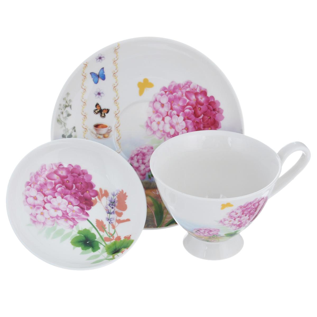 Набор чайный Lillo, 3 предмета. 9353293532Чайный набор Lillo состоит из чашки и двух блюдец, изготовленных из высококачественного фарфора. Предметы набора декорированы ярким цветочным принтом. Чайный набор яркого и в тоже время простого дизайна сделает ежедневное чаепитие настоящим праздником. Можно использовать в микроволновой печи. Не рекомендуется мыть в посудомоечной машине.