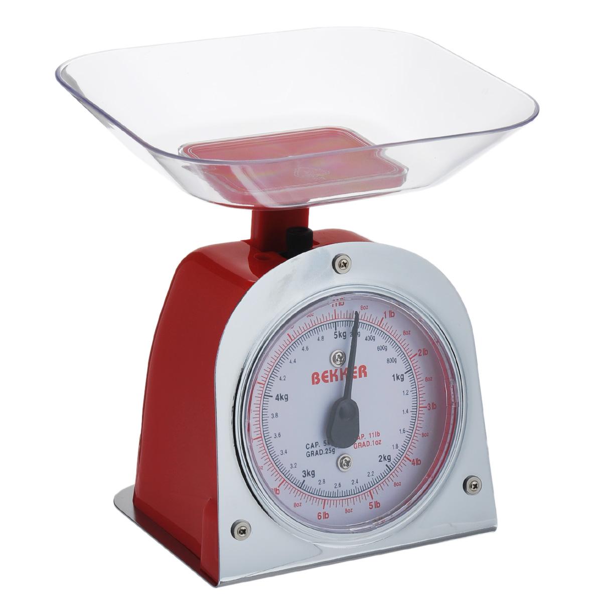 Весы кухонные Bekker Koch, цвет: красный, до 5 кгBK-2Весы кухонные Bekker Koch предназначены для взвешивания продуктов. Основание весов изготовлено из металла, а корпус из высококачественного пластика. Весы имеют регулятор мерной шкалы и съемную чашу, изготовленную из пластика. Весы выдерживают до 5 килограмм веса. Кухонные весы Bekker Koch придутся по душе каждой хозяйке и станут незаменимым аксессуаром на кухне. Размер весов (с учетом чаши): 13,5 см х 12 см х 19 см. Цена деления: 25 г. Максимальная нагрузка: 5 кг. Размер съемной чаши: 17,8 см х 15 см х 3,5 см.