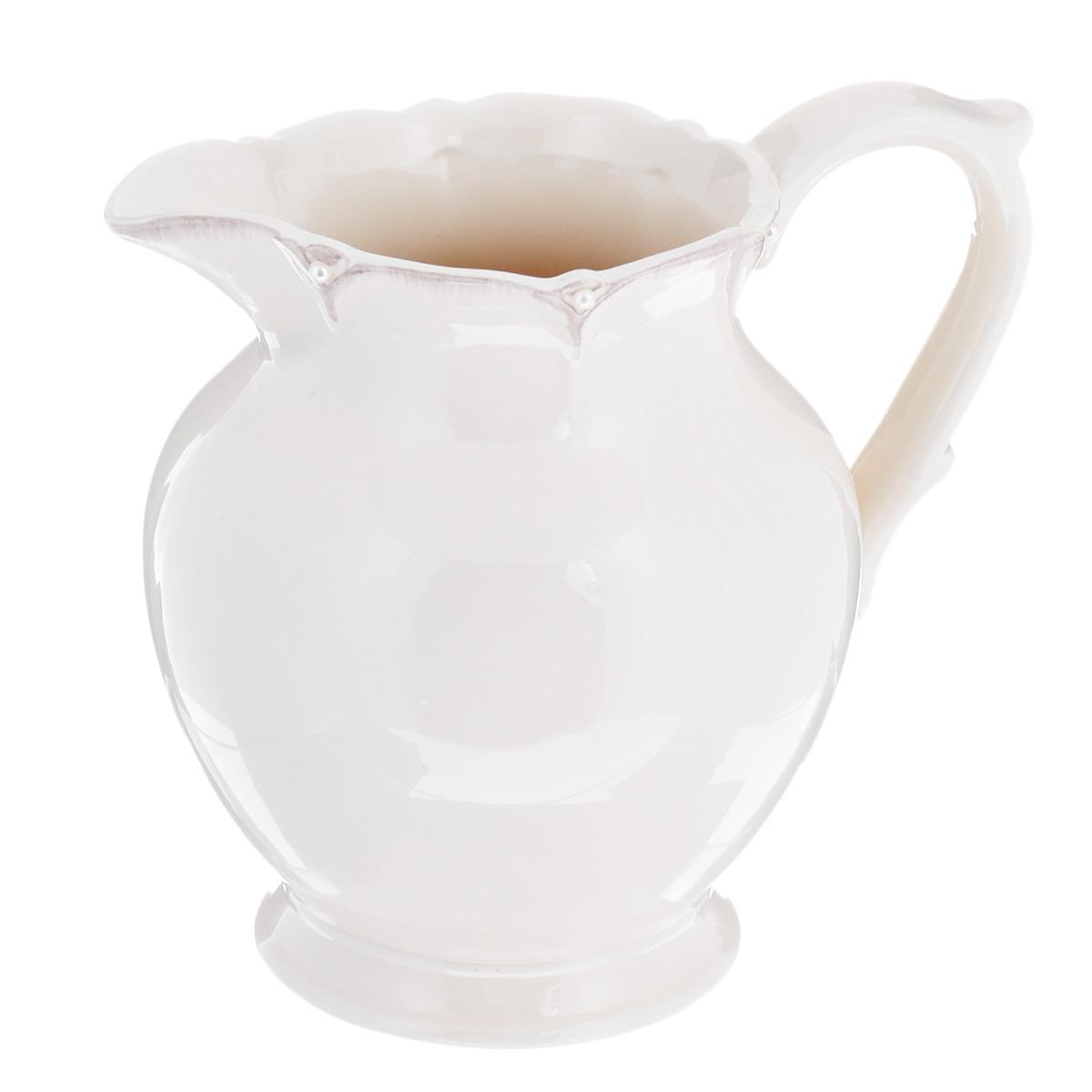 Кувшин Lillo Ideal, цвет: молочный, 1 л214954Кувшин Lillo Ideal изготовлен из высококачественной керамики и декорирован полубусинами под жемчуг. В нем будет удобно хранить молоко, соки или воду. Оригинальный дизайн кувшина позволит украсить любую кухню, внеся разнообразие, как в строгий классический стиль, так и в современный кухонный интерьер. Не использовать в посудомоечной машине и микроволновой печи.