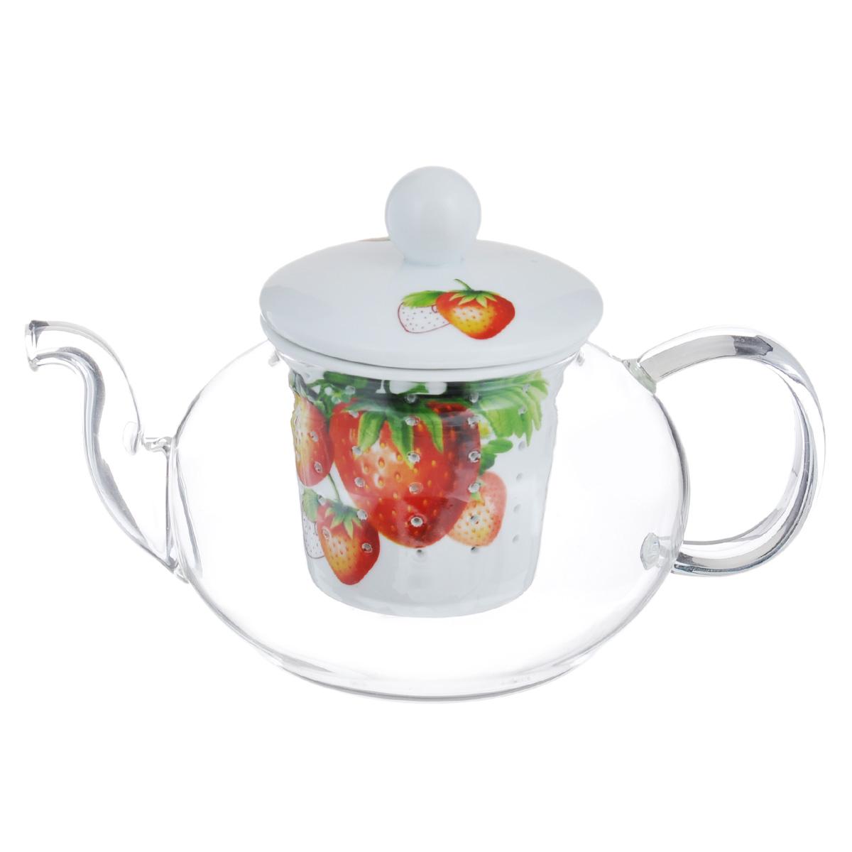 Чайник заварочный Lillo, 600 мл. AW12AW12Заварочный чайник Lillo изготовлен из жаропрочного стекла, которое хорошо удерживает тепло, даже если стенки чайника достаточно тонкие. Чайник снабжен керамической колбой для заварки. Колба оформлена ярким изображением ягод клубники и оснащена маленькими отверстиями, что предотвращает попадание чаинок и листочков в настой. Заварочный чайник из стекла удобно использовать для повседневного заваривания чая практически любого сорта. Но цветочные, фруктовые, красные и желтые сорта чая лучше других раскрывают свой вкус и аромат при заваривании именно в стеклянных чайниках и сохраняют полезные ферменты и витамины, содержащиеся в чайных листьях. Не мыть в посудомоечной машине. Можно использовать в микроволновой печи. Диаметр чайника (по верхнему краю): 7 см. Диаметр основания чайника: 7,5 см. Высота чайника (без учета крышки и ручки): 8 см. Объем чайника: 600 мл. Высота колбы: 6,5 см.