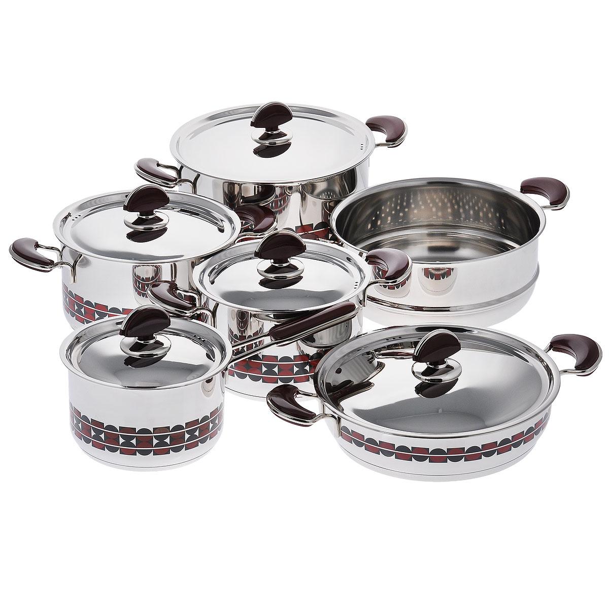 Набор посуды Kitchen-Art EX Pot, 11 предметовZH3000Набор посуды Kitchen-Art EX Pot состоит из четырех кастрюль, ковша и дуршлага-вставки. Изделия выполнены из нержавеющей стали «Премиум-ЛЮКС» (Южная Корея). Материал обладает высокой стойкостью к коррозии и кислотам. Прочность, долговечность и надежность этого материала, а также первоклассная обработка обеспечивают практически неограниченный запас прочности. Зеркальная полировка придает посуде привлекательный внешний вид. Дно посуды с трехслойным напылением. Идеально ровная внутренняя поверхность облегчает процесс чистки. Посуда оснащена удобными металлическими ручками с пластиковыми вставками, которые не нагреваются в процессе приготовления пищи. Крышки изготовлены из нержавеющей стали с пластиковыми ручками. Крышки имеют отверстия для выпуска пара. Набор посуды Kitchen-Art EX Pot - это модный европейский дизайн, обтекаемые линии и формы. Все изделия имеют специальный рисунок в стиле LUXURY. Каждое изделие упаковано в индивидуальную подарочную...