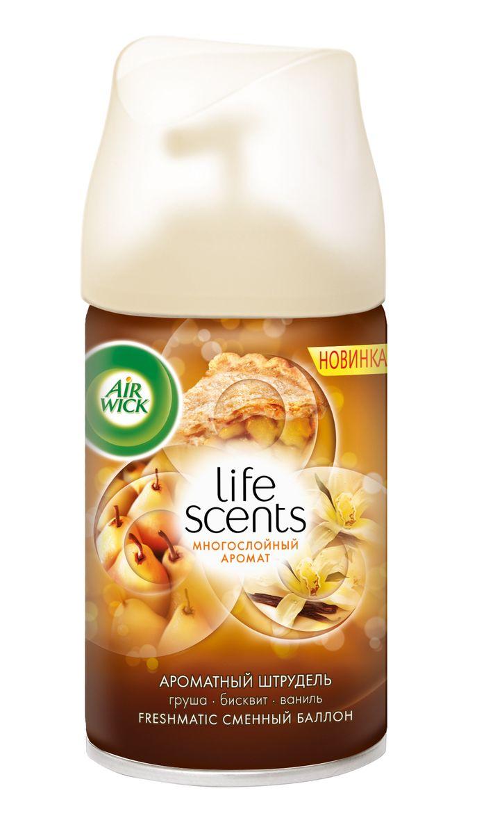 Баллон для автоматического освежителя воздуха AirWick Life Scents, ароматный штрудель (груша, бисквит, ваниль), 250 мл3007660Технология многослойного аромата, ощущение которого меняется в пространстве и во времени! Только AiriWick Life Scents дарит постоянно меняющееся ощущение многослойного аромата, так же, как в жизни. Состав: бутан, пропан, этиловый спирт денатурированный, ароматизатор, эвгенол, циннамаль.