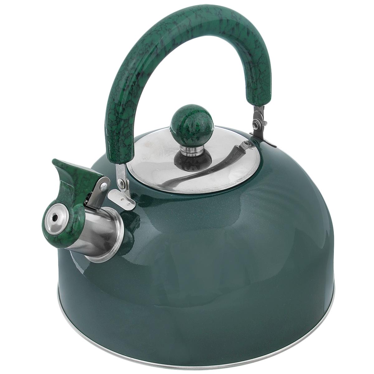 Чайник Mayer & Boch Modern со свистком, цвет: зеленый, 2 л. МВ-3226МВ-3226Чайник Mayer & Boch Modern изготовлен из высококачественной нержавеющей стали. Гладкая и ровная поверхность существенно облегчает уход. Он оснащен удобной нейлоновой ручкой, которая не нагревается даже при продолжительном периоде нагрева воды. Носик чайника имеет насадку-свисток, что позволит вам контролировать процесс подогрева или кипячения воды. Выполненный из качественных материалов чайник Mayer & Boch Modern при кипячении сохраняет все полезные свойства воды. Чайник пригоден для использования на всех типах плит, кроме индукционных. Можно мыть в посудомоечной машине. Диаметр чайника по верхнему краю: 8,5 см. Диаметр основания: 19 см. Высота чайника (без учета ручки и крышки): 10 см.