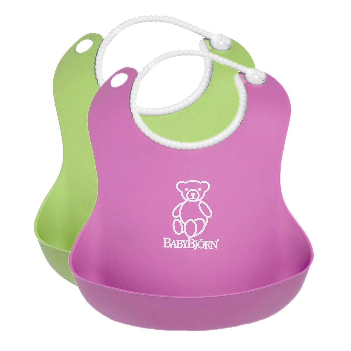 Комплект нагрудников BabyBjorn, цвет: розовый, салатовый, 2 шт0462.01