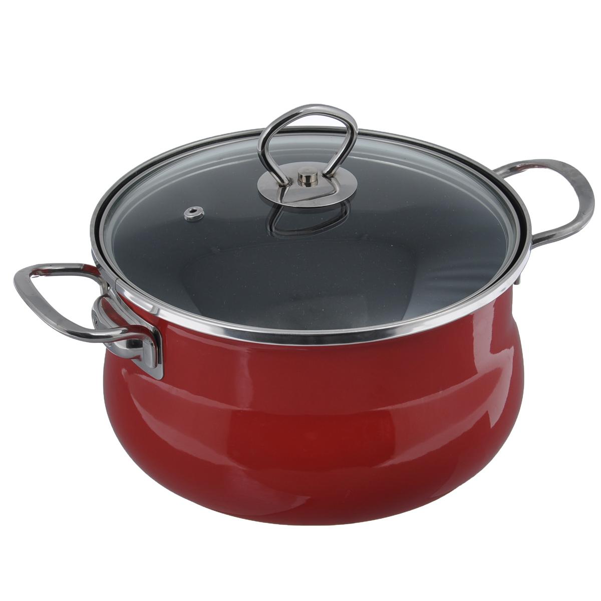 Кастрюля эмалированная Winner с крышкой, с антипригарным покрытием, цвет: красный, 4 л. WR-1612WR-1612Кастрюля Winner выполнена из высококачественной углеродистой стали с антипригарным нанопокрытием Teflon. Посуда с нанопокрытием обладает высокой прочностью, жаро-, износо-, коррозийной стойкостью, химической инертностью. При нагревании до высоких температур не выделяет и не впитывает в себя вредных для человека химических соединений. Нанопокрытие гарантирует быстрый и равномерный нагрев посуды и существенную экономию электроэнергии. Данная технология позволяет исключить деформацию корпуса при частом и длительном использовании посуды. Корпус кастрюли покрыт цветной эмалью. Кастрюля оснащена двумя удобными ручками из нержавеющей стали. Крышка, выполненная из термостойкого стекла, позволит вам следить за процессом приготовления пищи. Крышка оснащена отверстием для выпуска пара и металлическим ободом для предотвращения сколов. Изделие подходит для использования на всех типах плит, включая индукционные. Не рекомендуется мыть в посудомоечной машине. ...