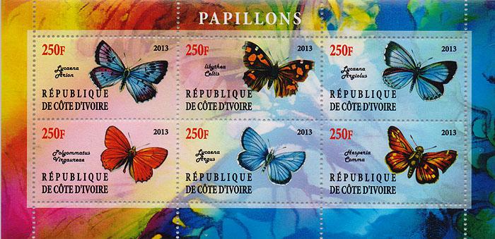 Малый лист Бабочки. Кот-д Ивуар, 2013 годK421306Малый лист Бабочки. Кот-д Ивуар, 2013 год. Размер блока: 7.5 х 15 см. Размер марок: 2.5 х 4.5 см. Сохранность хорошая.