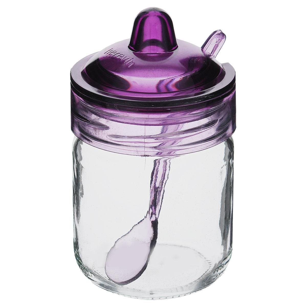 Банка для сыпучих продуктов Herevin Венеция, с ложечкой, цвет: фиолетовый, 200 мл. S131505S131505Банка для сыпучих продуктов Herevin Венеция изготовлена из прочного стекла. Банка оснащена плотно закрывающейся пластиковой крышкой с термоусадкой. Благодаря этому внутри сохраняется герметичность, и продукты дольше остаются свежими. Изделие предназначено для хранения различных сыпучих продуктов: круп, чая, сахара, орехов и т.д. Особенно прекрасно банка подойдет для специй. В комплекте - пластиковая ложечка, с помощью которой вы с легкостью сможете достать содержимое. Функциональная и вместительная, такая банка станет незаменимым аксессуаром на любой кухне. Можно мыть в посудомоечной машине. Пластиковые части рекомендуется мыть вручную. Объем: 200 мл. Диаметр (по верхнему краю): 6,5 см. Высота банки (без учета крышки): 8,5 см. Длина ложечки: 11,5 см. Объем: 200 мл. Диаметр (по верхнему краю): 6,5 см. Высота банки (без учета крышки): 8,5 см. Длина ложечки: 11,5 см.