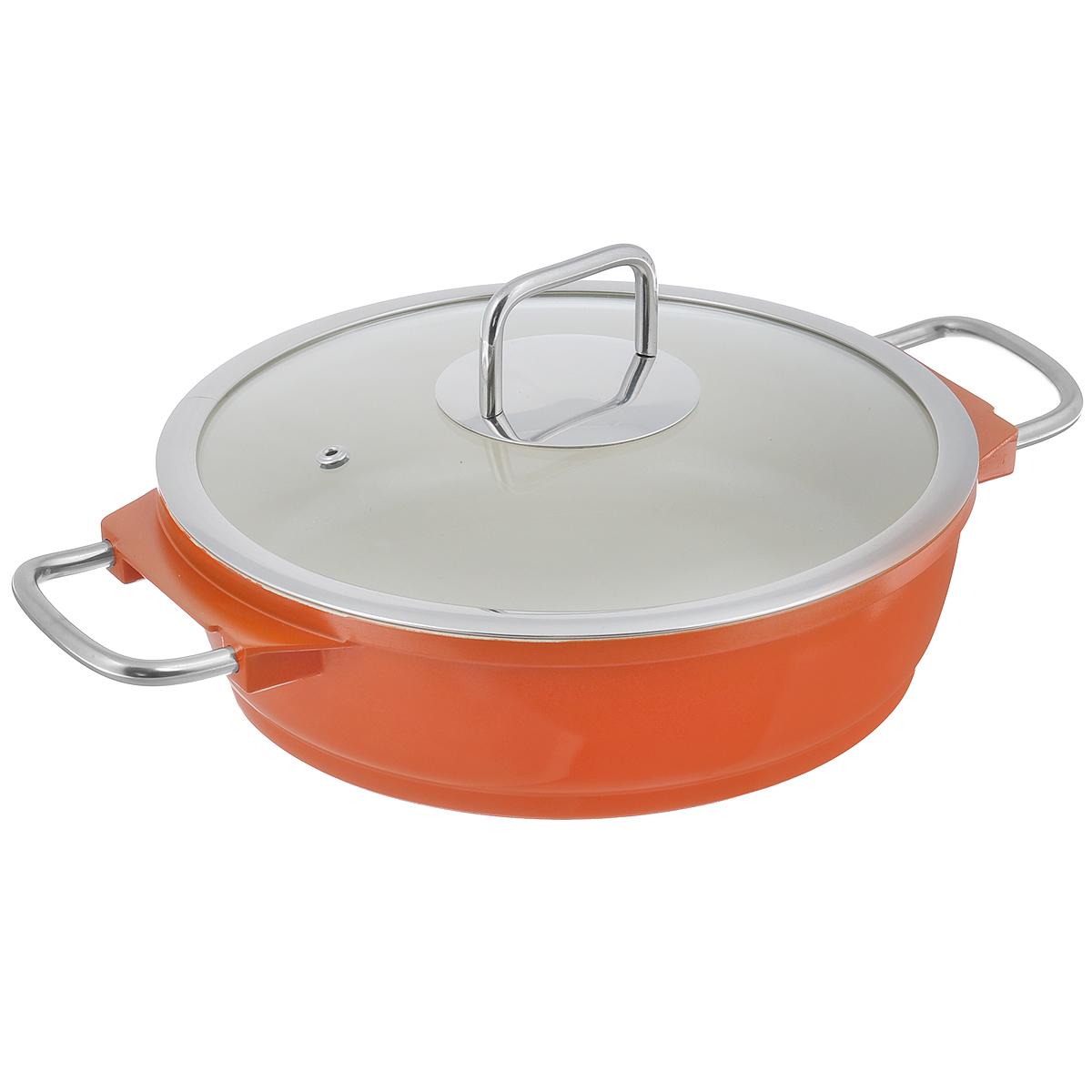 """Кастрюля """"Mayer & Boch"""" с крышкой, с керамическим покрытием, цвет: оранжевый, 2,7 л"""