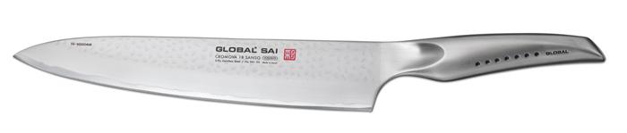 Нож поварской Global Sai, длина лезвия 25 смSAI-06Ножи Global Sai сделаны по тем же строгим стандартам, что и классические линейки Global, однако имеют полностью обновленный эргономичный дизайн ручек, учитывающий положение большого пальца, что позволяет уменьшить усилия при резке. Привлекательная двусторонняя отделка лезвия, выполненная специальным электромолотком, имеет не только декоративную функцию - получившиеся таким образом воздушные карманы, позволяют идеально нарезать продукты, и не допускают прилипания пищи к лезвию. Бренд Global выбор многих поваров со всего мира, ножи этого производителя известны своей универсальностью и исключительной ловкостью. Отличительной чертой японских ножей Global являются их рукоятки и уникальная бесшовная конструкция. Рукоятки и лезвия изготовлены из одного, цельного полотна нержавеющей стали, что делает ножи максимально гигиеничными и прочными. На них не скапливается грязь, и их очень легко мыть. Покрытие рукоятки специальными ямочками-впадинами, обеспечивает удобный и надежный...