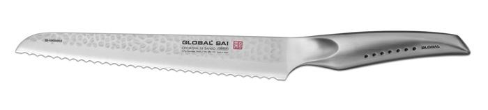 Нож для хлеба Global Sai. Right Side, длина лезвия 23 смSAI-05Ножи Global Sai сделаны по тем же строгим стандартам, что и классические линейки Global, однако имеют полностью обновленный эргономичный дизайн ручек, учитывающий положение большого пальца, что позволяет уменьшить усилия при резке. Привлекательная двусторонняя отделка лезвия, выполненная специальным электромолотком, имеет не только декоративную функцию - получившиеся таким образом воздушные карманы, позволяют идеально нарезать продукты, и не допускают прилипания пищи к лезвию. Бренд Global выбор многих поваров со всего мира, ножи этого производителя известны своей универсальностью и исключительной ловкостью. Отличительной чертой японских ножей Global являются их рукоятки и уникальная бесшовная конструкция. Рукоятки и лезвия изготовлены из одного, цельного полотна нержавеющей стали, что делает ножи максимально гигиеничными и прочными. На них не скапливается грязь, и их очень легко мыть. Покрытие рукоятки специальными ямочками-впадинами, обеспечивает удобный и надежный...