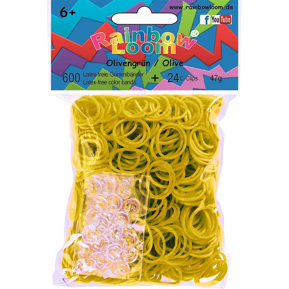 Резиночки безлатексные Rainbow Loom, с клипсами, цвет: оливковый, 600 шт0907Набор тонких матовых резиночек Rainbow Loom подходит для создания различных украшений с помощью увлекательного плетения Rainbow Loom. Резиночки, изготовленные из силикона, хорошо тянутся, позволяя плести разнообразные узоры. Плетение резиночками удобно выполнять руками или крючком. Концы готового браслета удобно соединять специальной клипсой. В наборе - 24 клипсы. Резинки очень долго сохраняют первоначальный вид и цвет. Наборы для творчества Rainbow Loom призваны развивать фантазию и воображение ребенка, они тренируют мелкую моторику, учат быть внимательными и терпеливыми, дают понимание моды и стиля. Количество резиночек: 600 шт. Количество клипс: 24 шт.