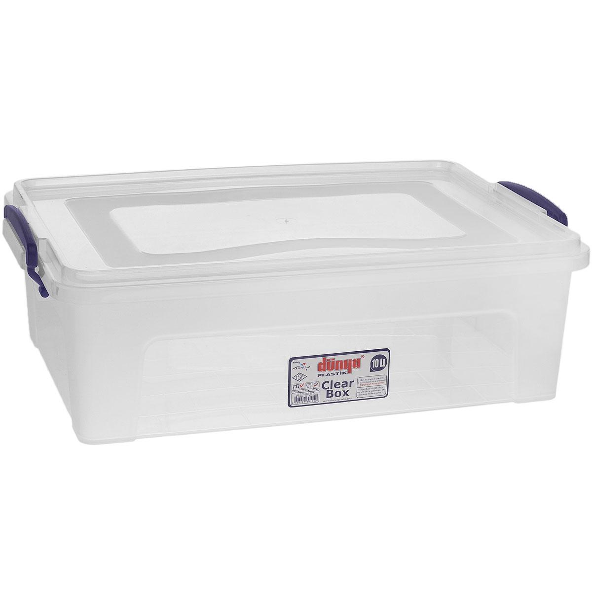 Контейнер Dunya Plastik Clear Box, цвет: прозрачный, 10 л30155Контейнер Dunya Plastik Clear Box выполнен из прочного пластика. Он предназначен для хранения различных мелких вещей. Крышка легко открывается и плотно закрывается. Прозрачные стенки позволяют видеть содержимое. По бокам предусмотрены две удобные ручки темно-синего цвета, с помощью которых контейнер закрывается. Контейнер поможет хранить все в одном месте, а также защитить вещи от пыли, грязи и влаги.