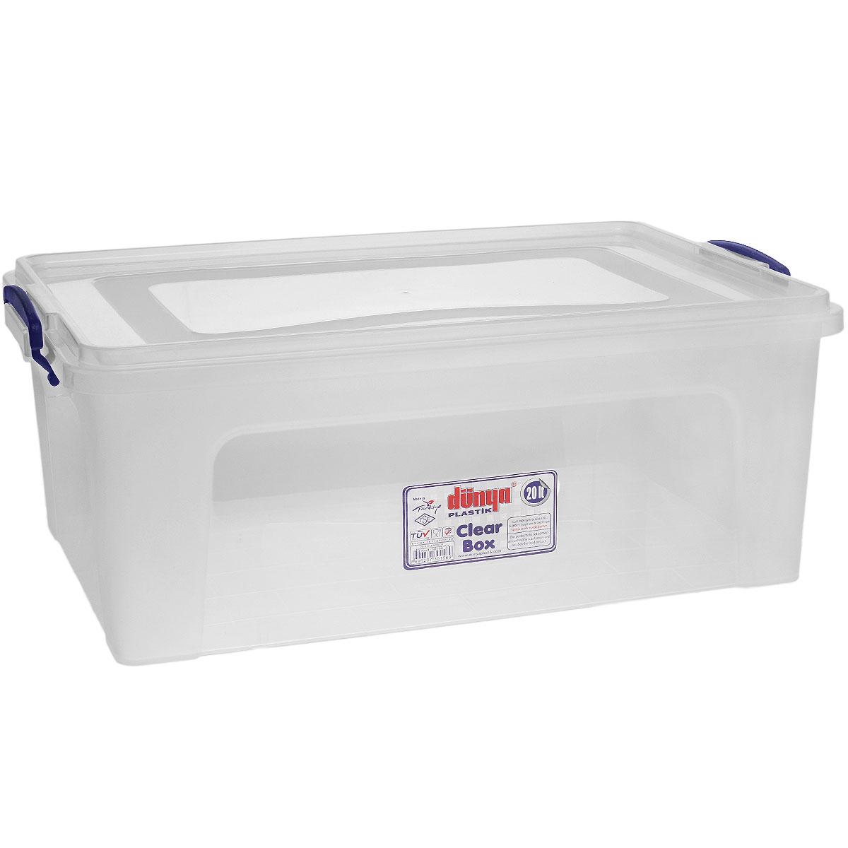 Контейнер Dunya Plastik Clear Box, цвет: прозрачный, 20 л30156Контейнер Dunya Plastik Clear Box выполнен из прочного пластика. Он предназначен для хранения различных мелких вещей. Крышка легко открывается и плотно закрывается. Прозрачные стенки позволяют видеть содержимое. По бокам предусмотрены две удобные ручки темно-синего цвета, с помощью которых контейнер закрывается. Контейнер поможет хранить все в одном месте, а также защитить вещи от пыли, грязи и влаги.