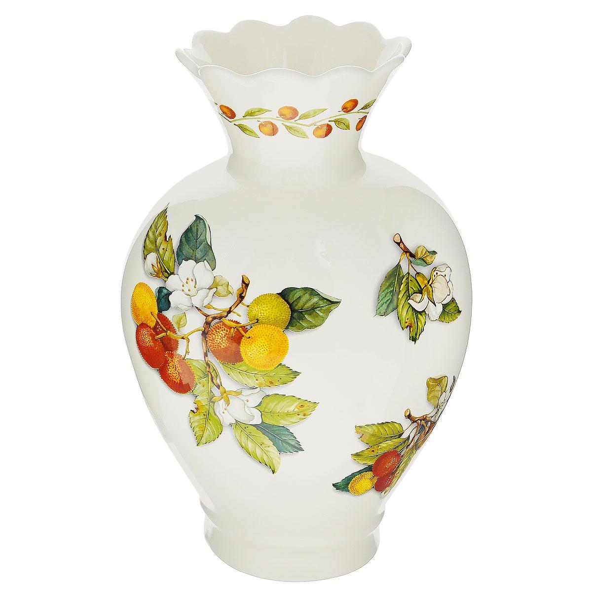 Ваза для цветов Nuova Cer Итальянские фрукты, высота 31 смNC7438-CEM-ALВаза для цветов Nuova Cer Итальянские фрукты изготовлена из высококачественной керамики и украшена красочным изображением фруктов. Такая оригинальная ваза прекрасно оформит интерьер дома, офиса или дачи. Подойдет как для декора, так и в качестве вазы для цветов. Высота вазы: 31 см. Размер по верхнему краю: 12,5 см х 10,5 см. Размер основания: 10,5 см х 10 см. Общий размер вазы: 20 см х 14,5 см х 31 см.