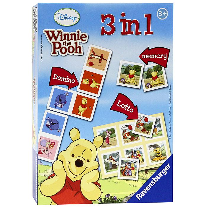 Настольная игра Ravensburger Винни, 3 в 122192Настольная игра Винни, 3 в 1, непременно понравится вашему малышу и станет для него любимым развлечением в кругу друзей. Настольная игра включает в себя три популярных игры всех времен: Мемори, Лото и Домино. Комплект игры включает 28 карточек домино, 24 карточки с рисунками и две карты лото. Настольная игра Винни, включающая в себя три популярные игры с известным и любимым персонажем, гарантирует веселое времяпровождение, а в процессе игры помогает развивать память.