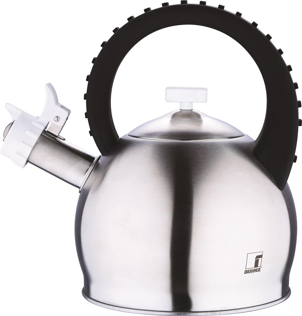 Чайник Bergner Symphony, со свистком, 2,8 л3742-BK-BGЧайник Bergner Symphony выполнен из высококачественной нержавеющей стали 18/10. Покрытие чайника - матовое. Чайник имеет капсульное дно, которое быстро нагревается, что сокращает время и экономит энергию. Оригинальная ручка чайника с рельефной поверхностью, выполнена из пластика, с нейлоновым покрытием Soft touch. Чайник оснащен свистком, который громким сигналом даст знать, когда вода закипела. Чайник имеет уникальный дизайн с имитацией клавиш пианино. Функциональный чайник стильного дизайна не только станет незаменимым аксессуаром, но и великолепно подойдет к любому интерьеру кухни. Подходит для всех видов плит. Диаметр основания: 17,5 см. Диаметр чайника (по верхнему краю): 9 см. Высота чайника (без учета ручки и крышки): 13,5 см. Высота чайника (с учетом ручки и крышки): 25,5 см. Диаметр индукционного диска: 13,5 см.