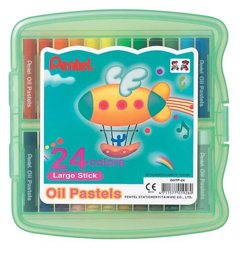 Пастель масляная Pentel Oil Pastels, в цветном боксе, 24 цветаGHTP24Пастель масляная Pentel Oil Pastels изготовлена из натуральных компонентов и не содержит вредных примесей. Соответствует европейскому стандарту качества EN71, утвержденному для детских товаров. Пастелью можно рисовать в любой технике (в сочетании с цветными карандашами, красками). При работе пастелью лучше использовать шероховатые поверхности - специальные бумаги, картон, холст. Пастель отличают яркие долговечные цвета, стойкие к воздействию света. Для удобства использования краски имеют форму мелков. Набор упакован в пластиковый бокс.