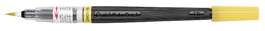Кисть с краской Pentel Colour Brush, цвет: желтыйXGFL-105Кисть с краской Pentel Colour Brush предназначена для работы в акварельной технике. Наконечник кисти изготовлен из высококачественного нейлона, что позволяет наносить краску не только штрихами и тонкими линиями, но и закрашивать целые фрагменты. Яркий слой краски ложится мягко и сохнет очень быстро. Смешиванием разных красок можно добиться необычного эффекта. При добавлении воды цвет становится намного нежнее и появляется мягкость и тонкость переходов цвета. Кисть содержит сменный картридж FR с чернилами на водной основе.