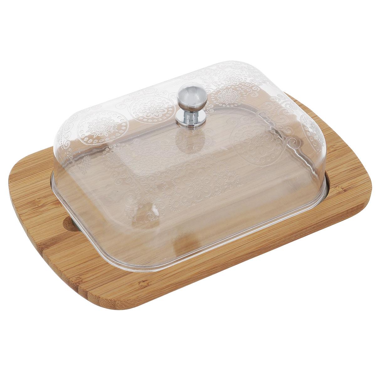 Масленка Mayer & Boch. 2351923519Масленка Mayer & Boch прекрасно подходит для хранения масла и сервировки стола. Масленка состоит из прямоугольного бамбукового подноса и прозрачной пластиковой крышки, украшенной изысканным узором. Крышка плотно устанавливается на поднос. Масленка сохранит сливочное масло свежим как в холодильнике, так и на обеденном столе. Прекрасное дополнение для любой кухни.