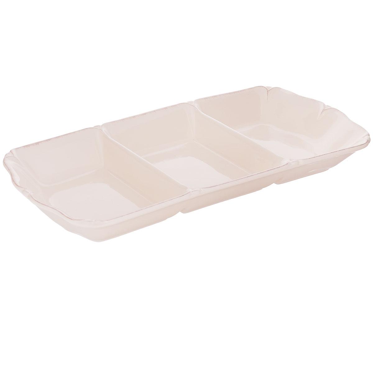Менажница Lillo Ideal, цвет: молочный, 3 секции. 214210214210Изящная менажница Lillo Ideal, выполненная из керамики, состоит из трех секций. Изделие декорировано рельефным узором по краю. Некоторые блюда можно подавать только в менажнице, чтобы не произошло смешение вкусовых оттенков гарниров. Также менажница может быть использована в качестве посуды для нескольких видов салатов или закусок. Менажница Lillo Ideal станет замечательной деталью сервировки и великолепным украшением праздничного стола. Можно использовать в посудомоечной машине и микроволновой печи. Размер секции менажницы: 19 см х 13 см. Высота стенки менажницы: 4,5 см.