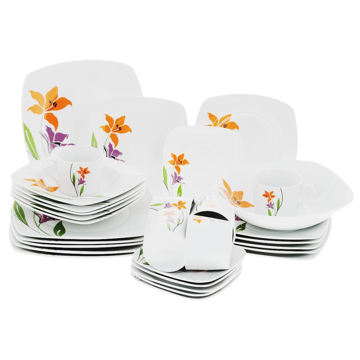 Сервиз обеденный Bekker, 31 предмет. BK-7275BK-7275Обеденный сервиз Bekker состоит из 6 суповых тарелок, 6 обеденных тарелок, 6 десертных тарелок, салатника, 6 чашек, 6 блюдец. Тарелки и блюдца имеют квадратную форму. Изделия выполнены из высококачественного фарфора белого цвета и оформлены красивым цветочным орнаментом. Поверхность изделий покрыта превосходной сверкающей глазурью, не содержащей свинца. Такой сервиз придется по вкусу любителям классики и тем, кто предпочитает утонченность и изысканность. Сервиз создаст хорошую атмосферу во время обеда и красиво оформит сервировку стола. Прекрасно подходит для ежедневного использования. Размер суповой тарелки: 21 см х 21 см. Размер обеденной тарелки: 26 см х 26 см. Размер десертной тарелки: 21 см х 21 см. Размер салатника: 23 см х 23 см. Объем чашки: 250 мл. Диаметр чашки (по верхнему краю): 8,5 см. Высота чашки: 7 см. Размер блюдца: 16 см х 16 см.