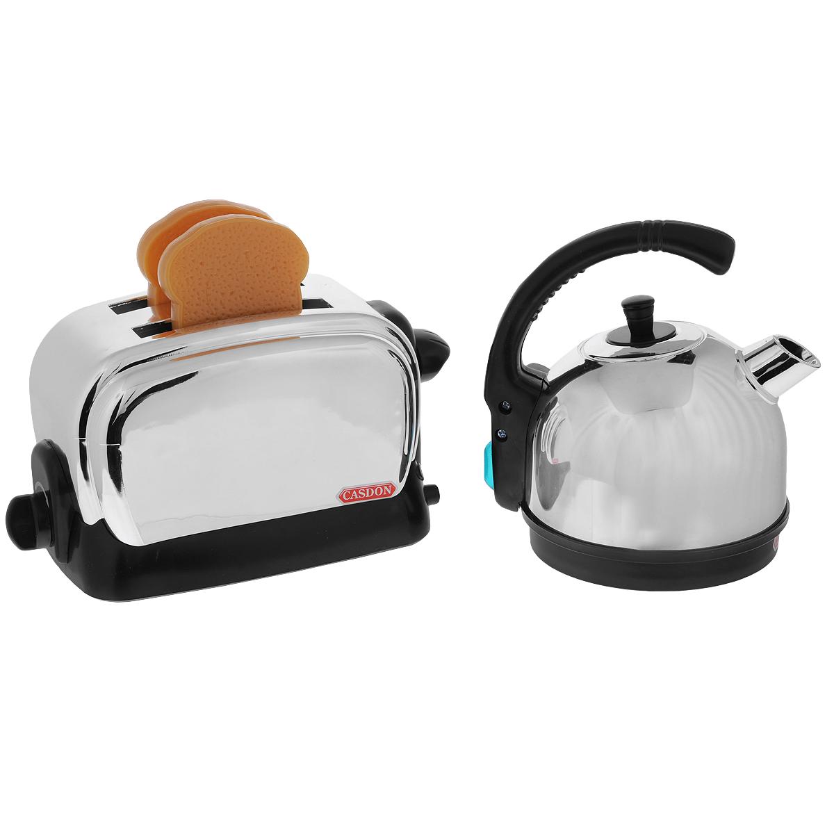 Набор для завтрака Casdon Little Cook, 4 предмета486Набор для завтрака Casdon Little Cook несомненно привлечет внимание вашей малышки и не позволит ей скучать. Набор включает в себя чайник с крышкой и ручкой, тостер и два муляжа кусочков хлеба. Чайник снабжен указателем уровня воды, а тостер имеет таймер. Сюжетно-ролевые игры с набором Casdon Little Cook способствуют развитию мелкой моторики рук, координации движений, фантазии и воображения, расширяют словарный запас, прививают некоторые социальные навыки.