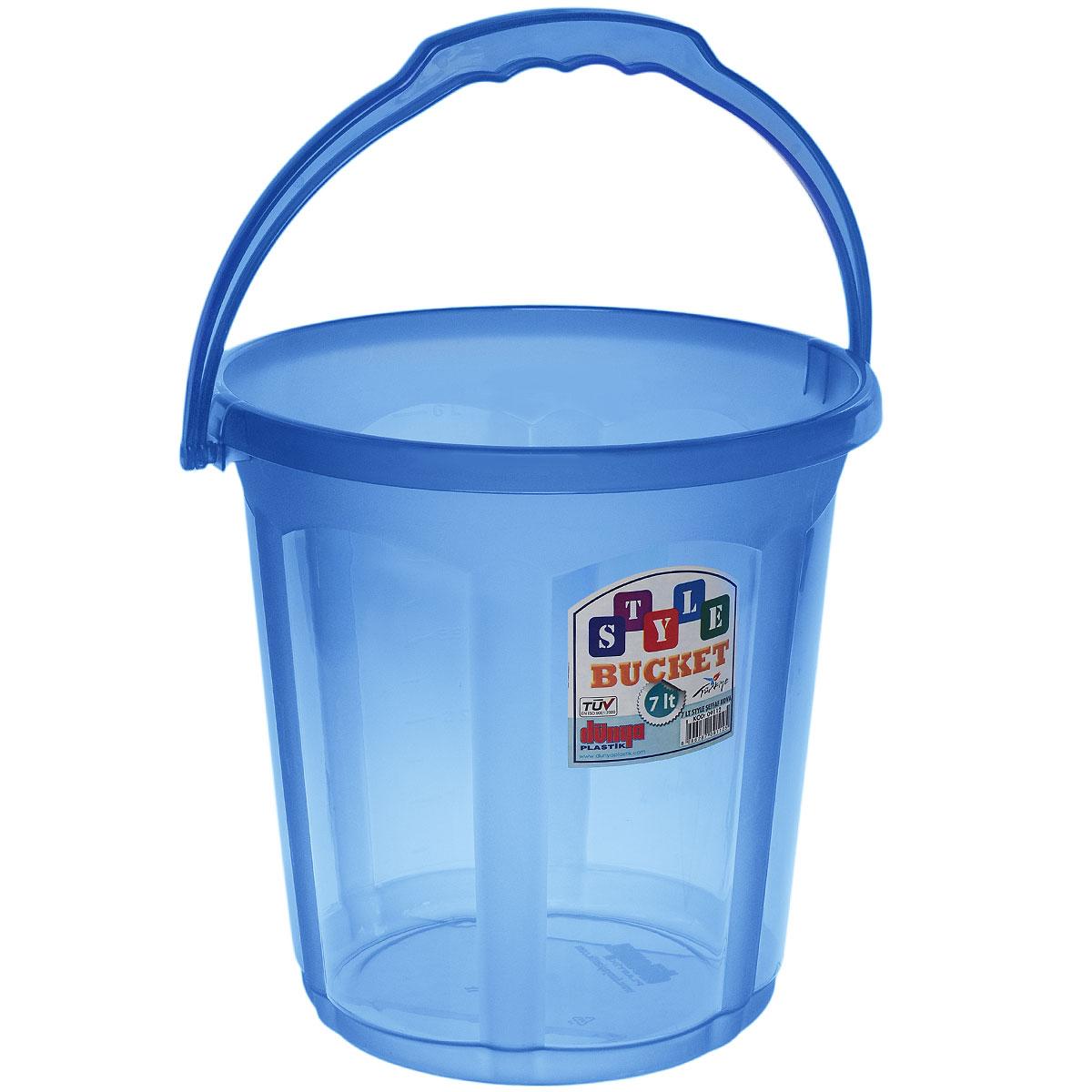 Ведро Dunya Plastik Стиль, цвет: синий, 7 л09112Ведро Dunya Plastik Стиль изготовлено из прочного цветного пластика. Изделие оснащено эргономичной ручкой. Такое ведро прекрасно подойдет для различных хозяйственных нужд: для уборки или хранения мусора. Диаметр ведра (по верхнему краю): 23,5 см. Высота ведра : 24 см.