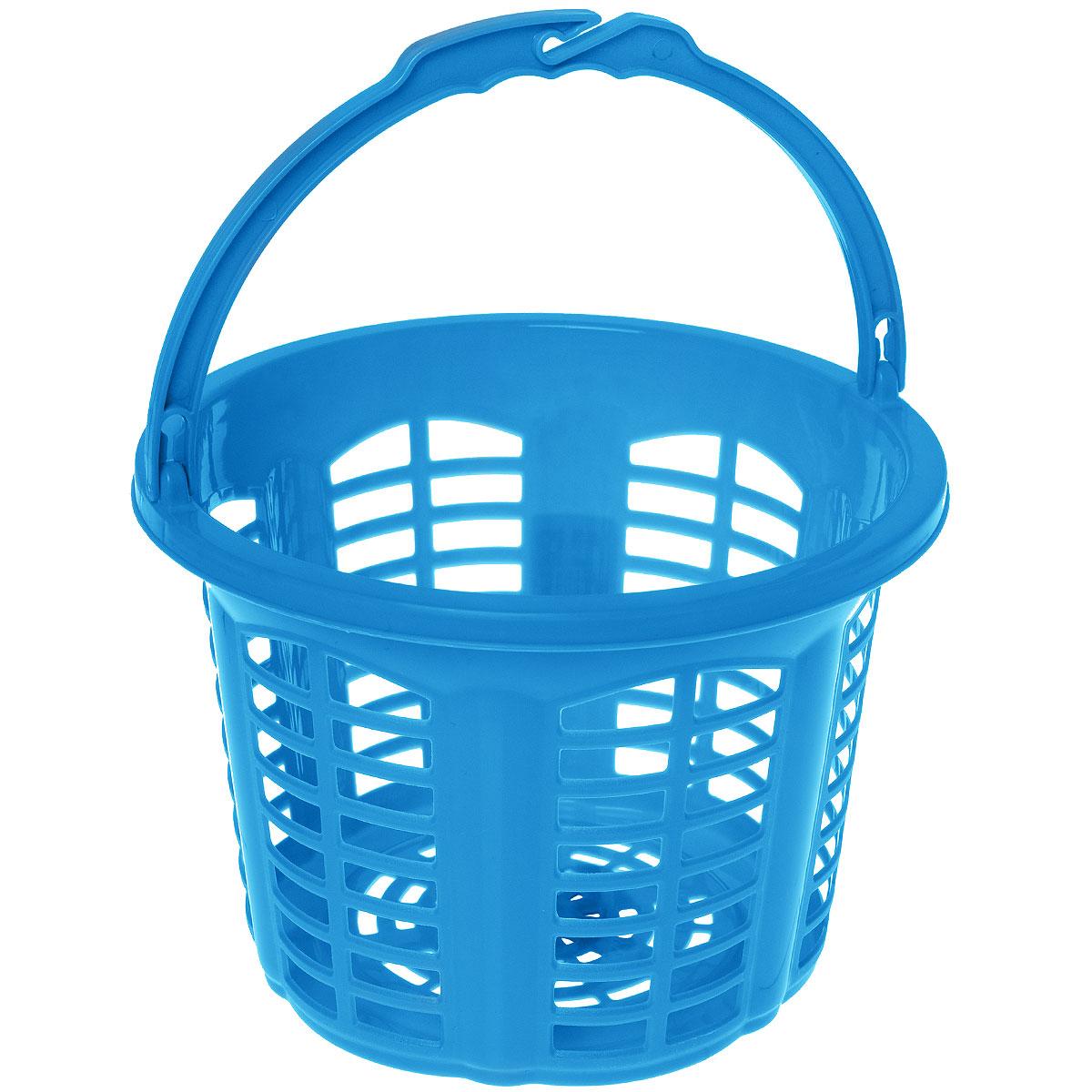 Корзина для прищепок Dunya Plastik Стиль, цвет: синий, 2,7 л05201Корзина Dunya Plastik Стиль, выполненная из высококачественного цветного пластика, оснащена удобной ручкой для переноски. Изделие предназначено для хранения прищепок и прочих хозяйственных мелочей. Боковые стенки и дно корзины оформлены перфорацией. Корзина очень вместительная. Элегантный выдержанный дизайн позволяет ей органично вписаться в ваш интерьер и стать его элементом.