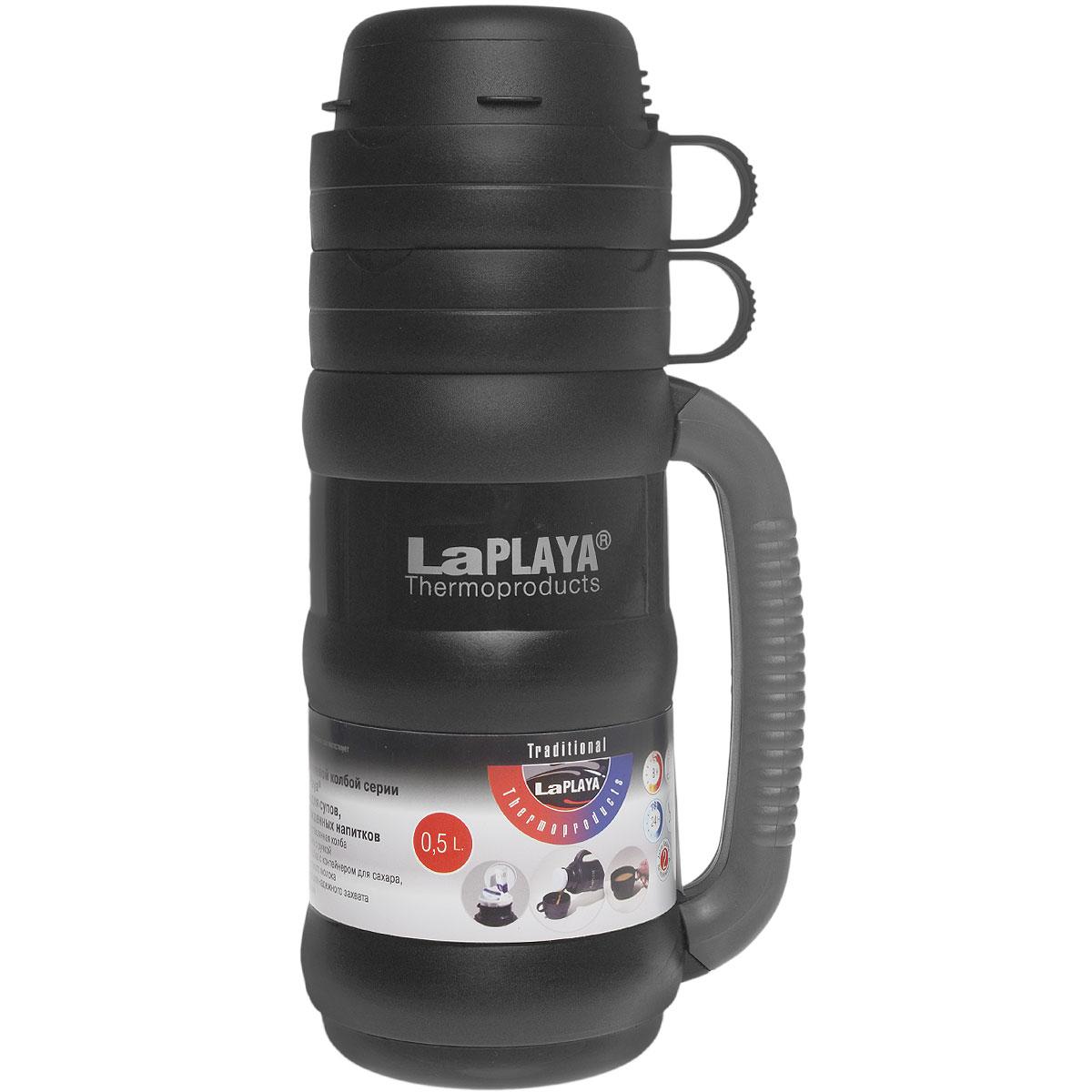 Термос LaPlaya Traditional 35, цвет: черный, 500 мл560002Термос со стеклянной колбой LaPlaya Traditional 35 предназначен для супов, горячих и охлажденных напитков. Особенности термоса: Прочная и надежная стеклянная колба. Полноразмерная чашка с ручкой. Завинчивающаяся пробка с контейнером для сахара, пакетика чая, кофе, сухого молока. Прорезиненная ручка для надежного захвата против выскальзывания. Высота термоса: 28 см. Диаметр термоса (без учета ручки): 10 см. Сохраняет тепло: 8 ч. Сохраняет холод: 24 ч.