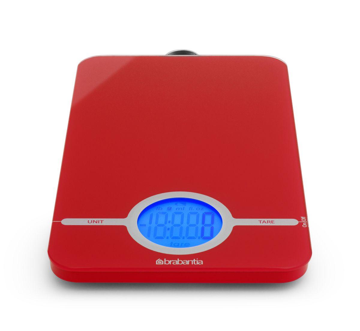 """Весы кухонные электронные """"Brabantia"""", цвет: красный, до 5 кг. 480584"""