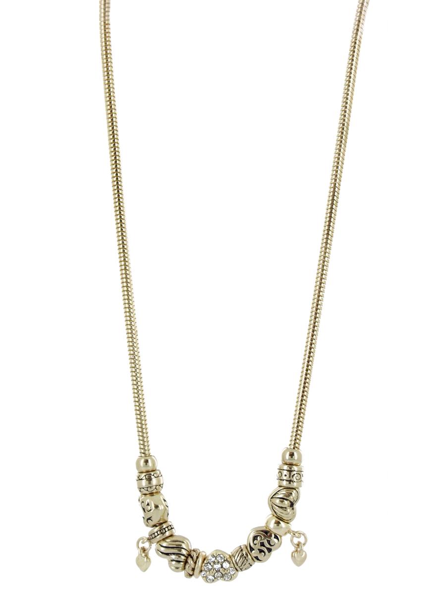 Колье Taya, цвет: золотистыйT-B-5629-NECK-GOLDСтильное колье Taya, выполненное из золотистого металла, не оставит равнодушной ни одну любительницу изысканных и необычных украшений. Колье состоит из цепочки с панцирным плетением змейка и подвижных элементов из металла и пластика, украшенных имитацией золочения, а также декорированных стразами. Колье имеет надежную застежку-карабин с регулирующей длину цепочкой. Такое колье позволит вам с легкостью воплотить самую смелую фантазию и создать собственный, неповторимый образ.