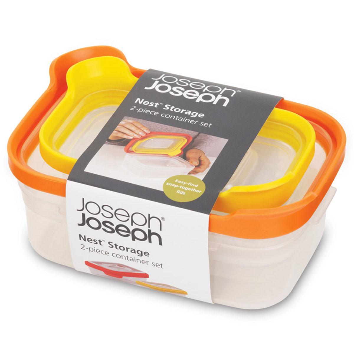 Набор контейнеров Joseph Joseph Nest для пищевых продуктов, 2 шт81012Набор Joseph Joseph Nest из двух контейнеров привлекательного яркого дизайна предназначен специально для хранения пищевых продуктов. Контейнеры имеют прямоугольную форму и разные размеры. Крышки, изготовленные из силикона, легко открываются и плотно закрываются. Контейнеры устойчивы к воздействию масел и жиров, легко моются. Прозрачные стенки позволяют видеть содержимое контейнеров. Пищевые контейнеры необыкновенно удобны: в них можно брать еду на работу, за город, ребенку в школу. Именно поэтому они обретают все большую популярность. Подходят для использования в микроволновых печах. Размер контейнеров (по верхнему краю): 15 см х 10,5 см; 12,5 см х 7,5 см. Высота контейнеров (без учета крышек): 5 см, 4 см.