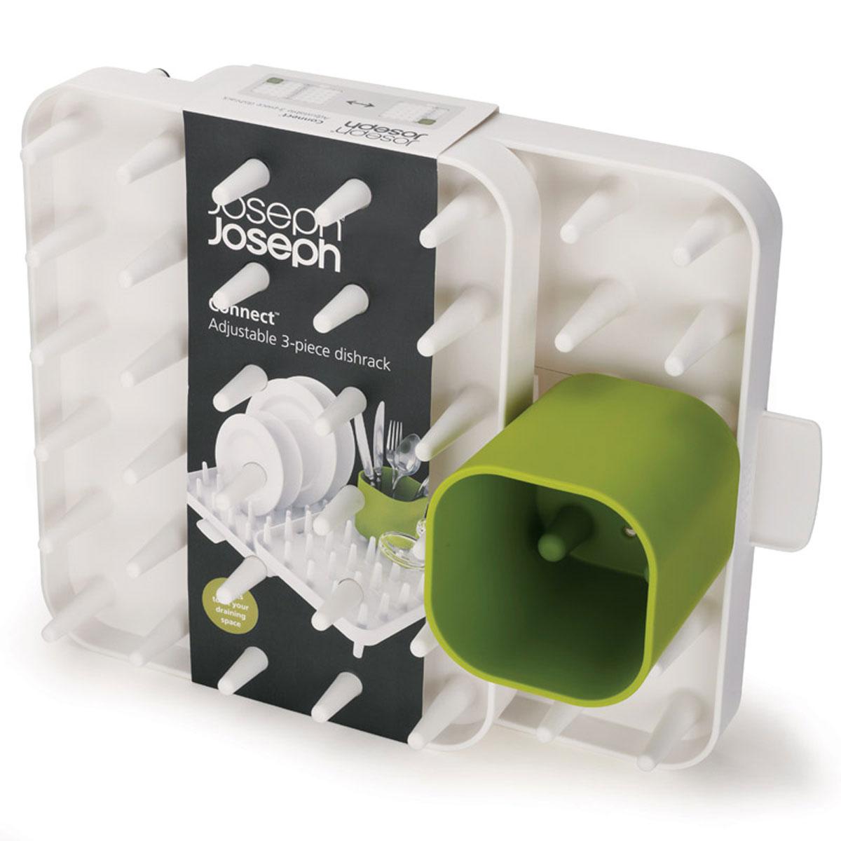 Сушилка для посуды Joseph Joseph Connect, цвет: белый, 44,5 см х 10,5 см х 29 см85034Сушилка для посуды Joseph Joseph Connect изготовлена из высококачественного пластика. Уникальная сушилка, состоящая из трех отделений, поместится на любой кухне, так как ее компоненты можно перемещать друг относительно друга, адаптируя под заданное пространство. Благодаря специальным зубцам можно размещать на ней тарелки, чашки, миски в любой комбинации. Также в комплекте идет специальная подставка для столовых приборов. Стекающая с посуды вода отводится в специальный поддон, просто разместите сушилку рядом с раковиной. Благодаря нескользящему основанию сушилка займет свое место на рабочем столе и станет отличным помощником как после обеда на двоих, так и после семейного торжества.