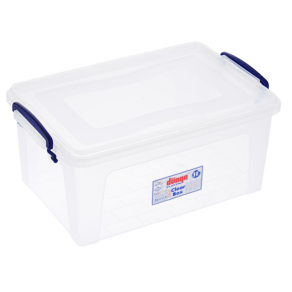 Контейнер Dunya Plastik Clear Box, цвет: прозрачный, 9 л30164Контейнер Dunya Plastik Clear Box выполнен из прочного пластика. Он предназначен для хранения различных мелких вещей. Крышка легко открывается и плотно закрывается. Прозрачные стенки позволяют видеть содержимое. По бокам предусмотрены две удобные ручки темно-синего цвета, с помощью которых контейнер закрывается. Контейнер поможет хранить все в одном месте, а также защитить вещи от пыли, грязи и влаги.